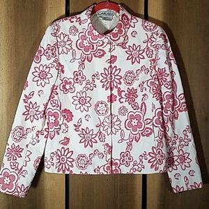 Carlisle Size 14 Jacket Zip Up Jacquard Floral Pri